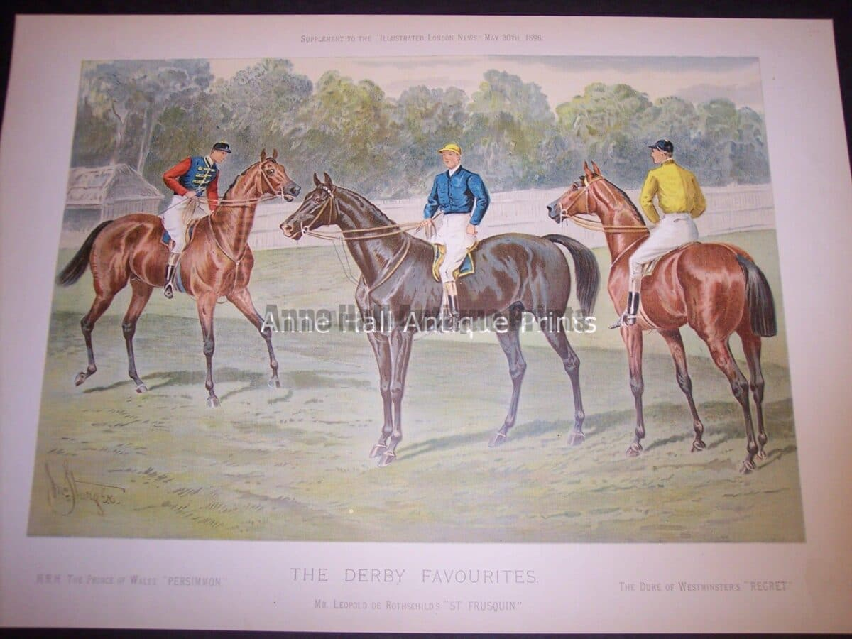 horse racing chromolithograph from c.1900.