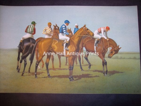 beautiful color lithograph of jockeys on their horses, getting ready for horse racing derby.