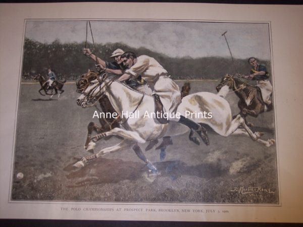 Rare polo halftone, half engraving-part photograph, from 1906 of polo match.