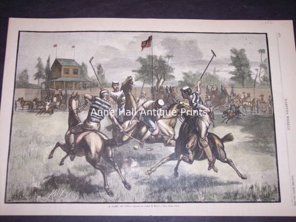 Rare mid 19th century engraving of polo match, hand colored, from 1882