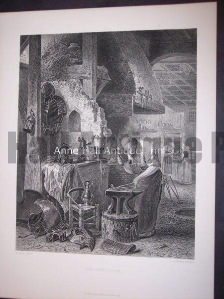 mid 19th century of a blacksmith working with the anvil.