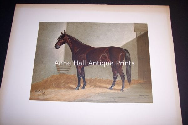 Henry Stull Antique Horse Lithograph American Thoroughbred Santa Claus