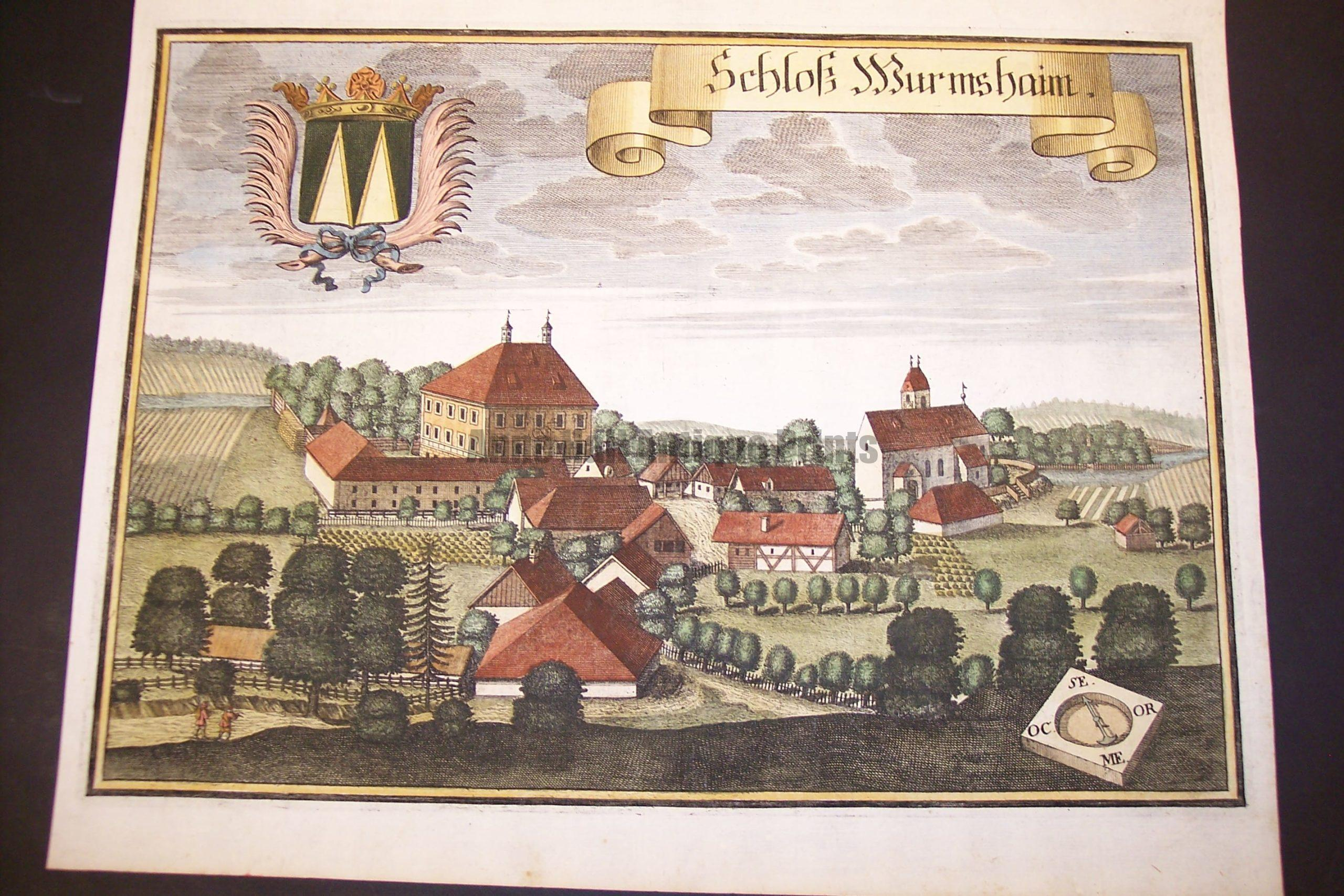 Werning Bavaria Rare Hand Colored Castle Engraving 1703.