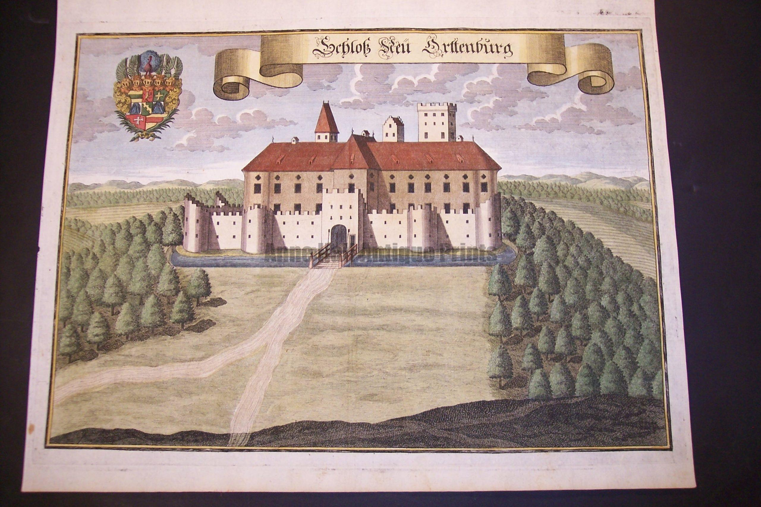 Werning Bavaria Rare Hand Colored Castle Engraving 1703. #1577