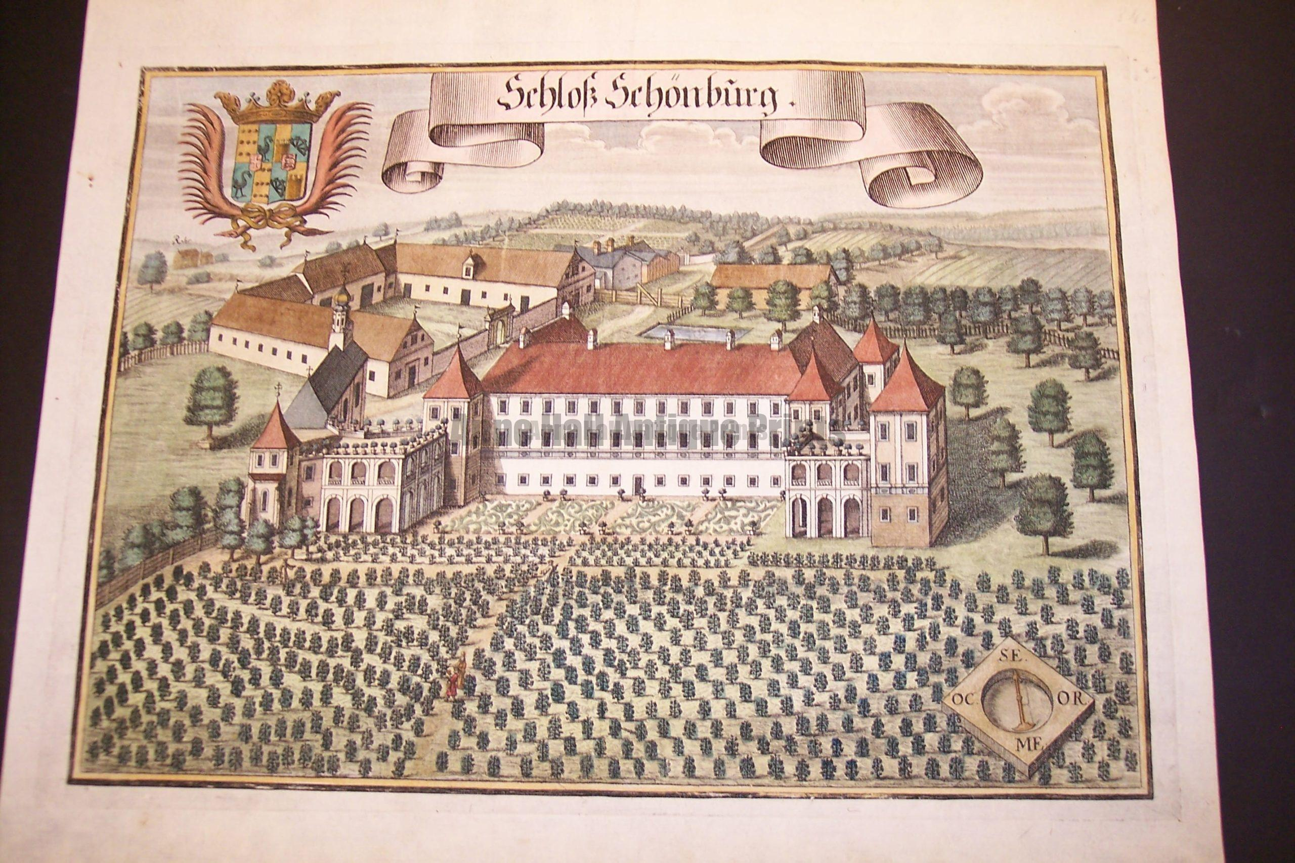 Werning Bavaria Rare Hand Colored Castle Engraving 1703. #1578