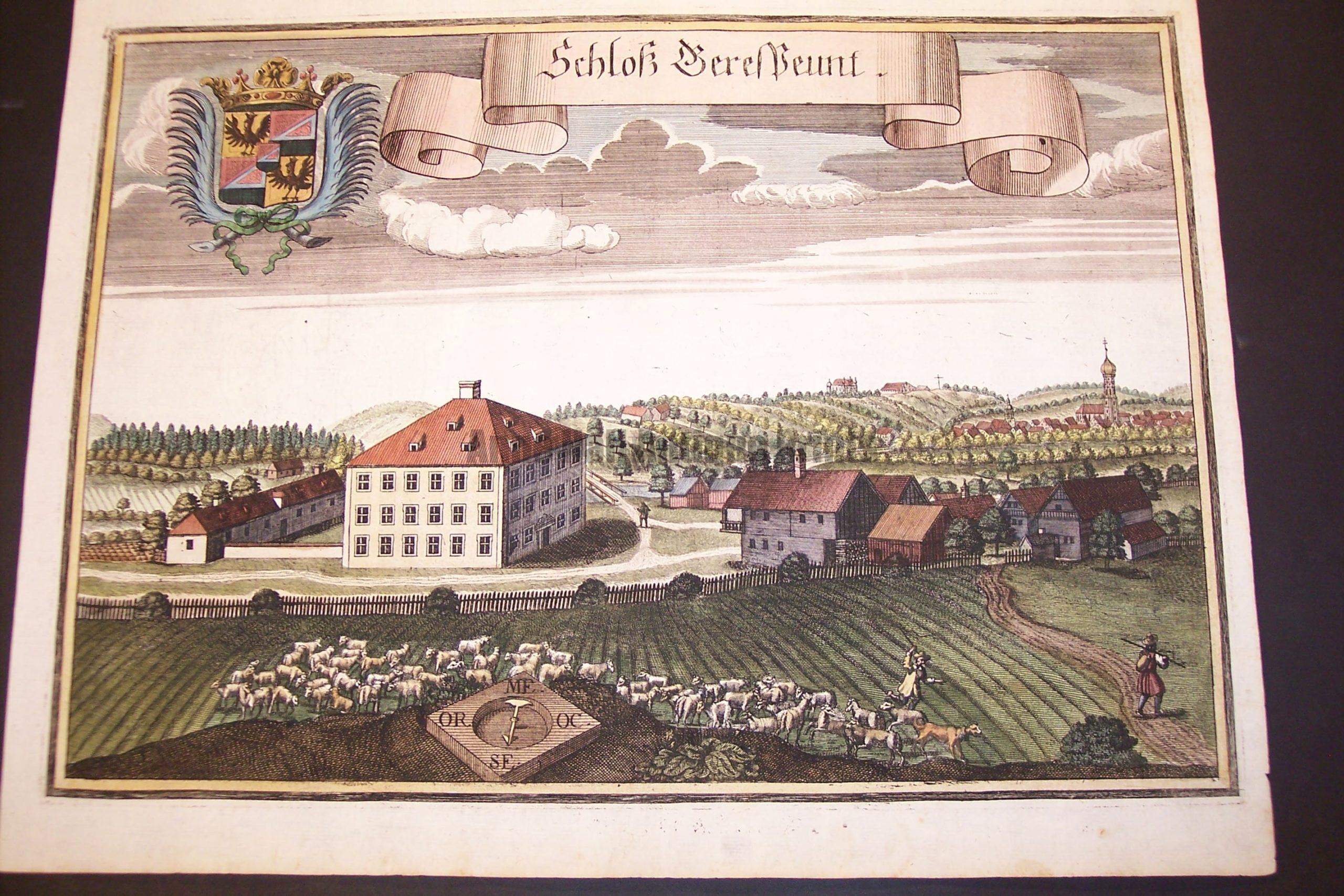 Werning Bavaria Rare Hand Colored Castle Engraving 1703. #1580
