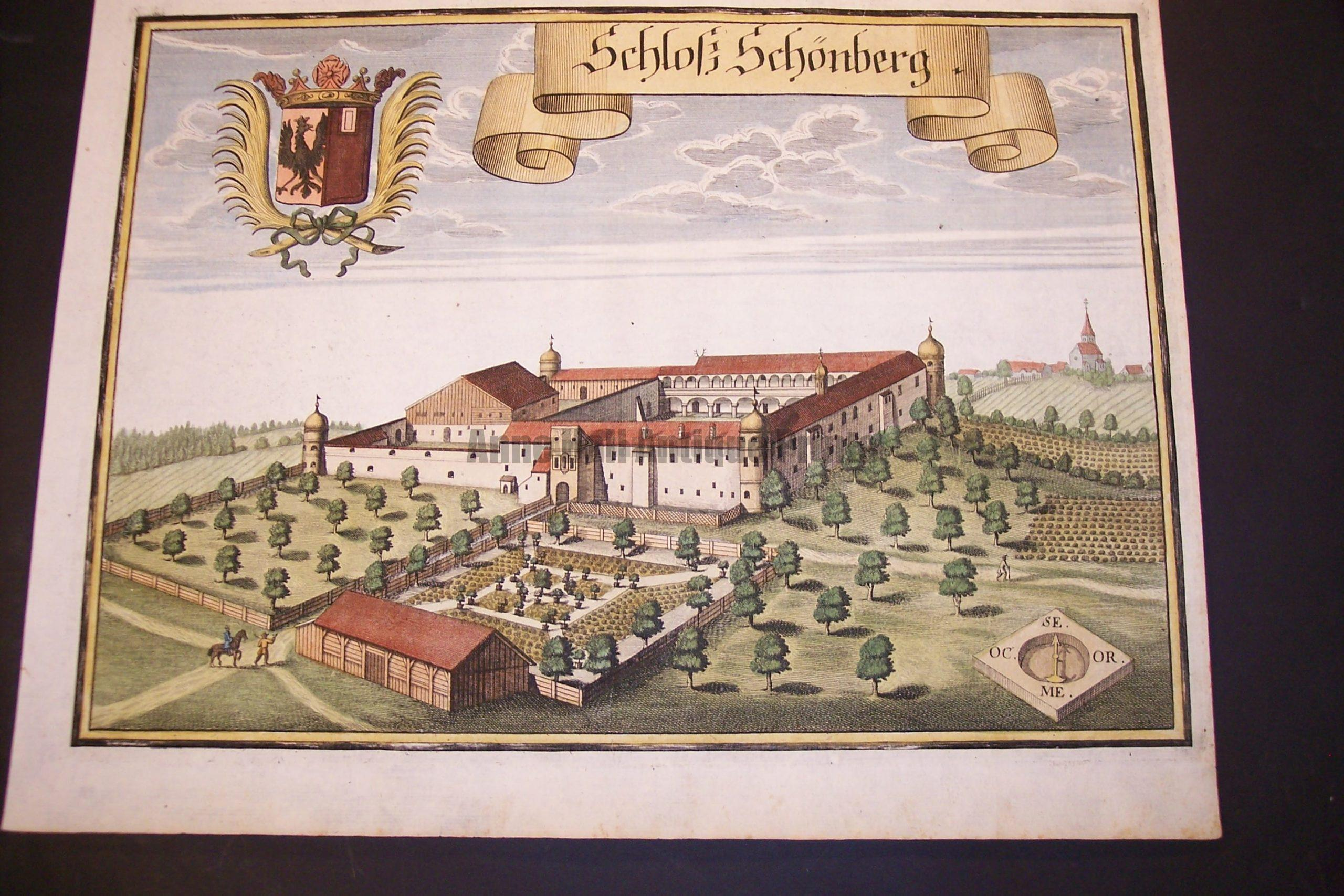 Werning Bavaria Rare Hand Colored Castle Engraving 1703. #1581