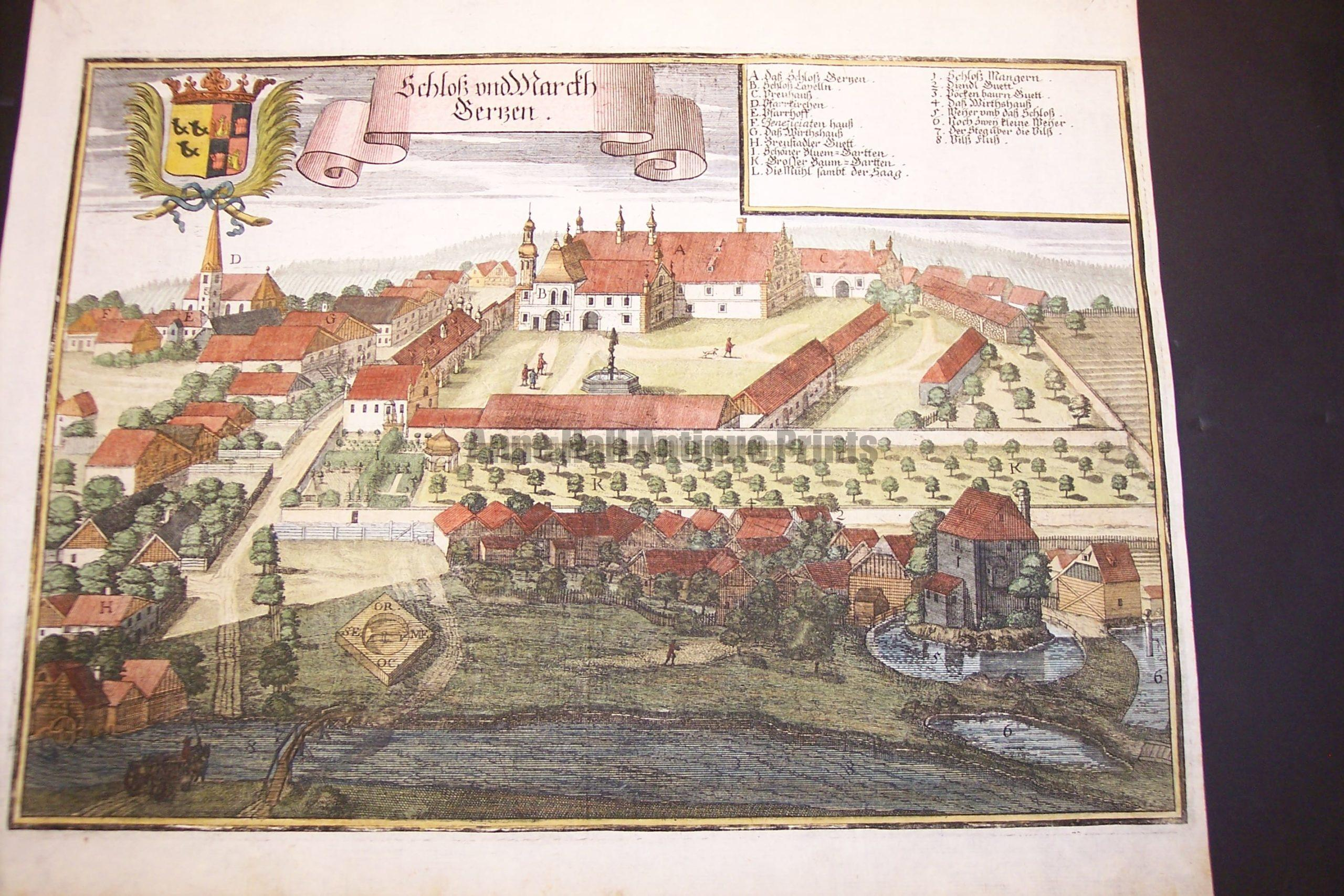 Werning Bavaria Rare Hand Colored Castle Engraving 1703. #1582