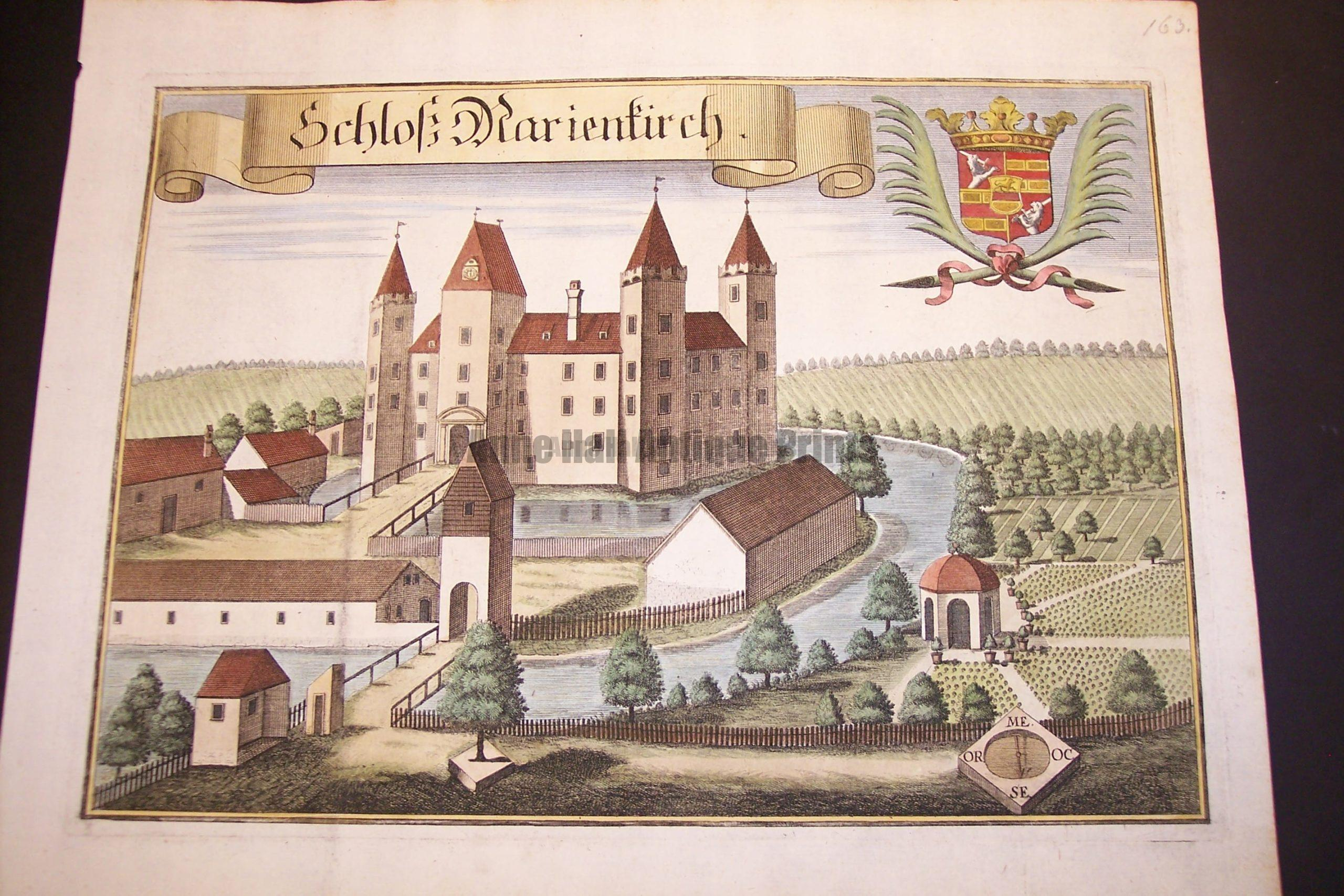 Werning Bavaria Rare Hand Colored Castle Engraving 1703. #1583
