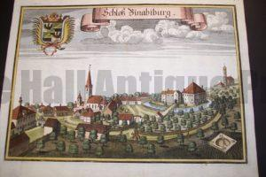 Werning Bavaria Rare Hand Colored Castle Engraving 1703. #1584