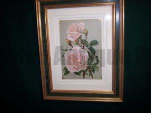6159 Antique Rose Lithograph Framed