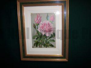 6158 Antique Rose Lithograph Framed