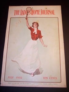 """6863 Antique Tennis Print. Female Athlete! @11x17"""" c.1902 $85."""