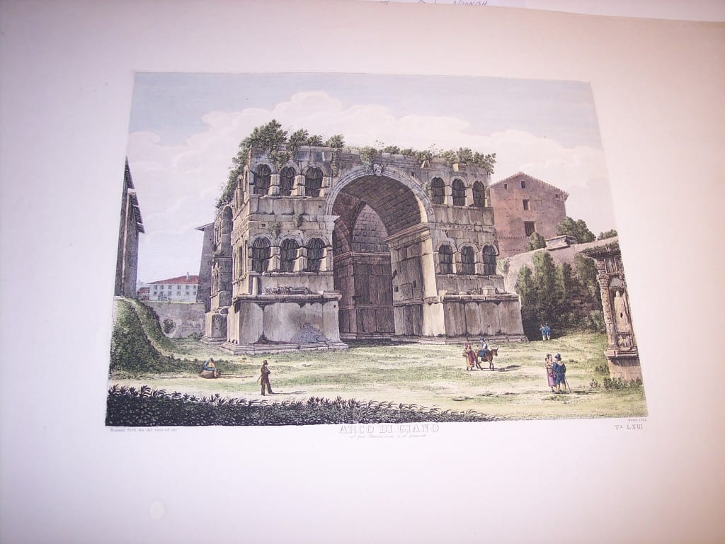 Rossini Etching of Rome Hand Colored 8075