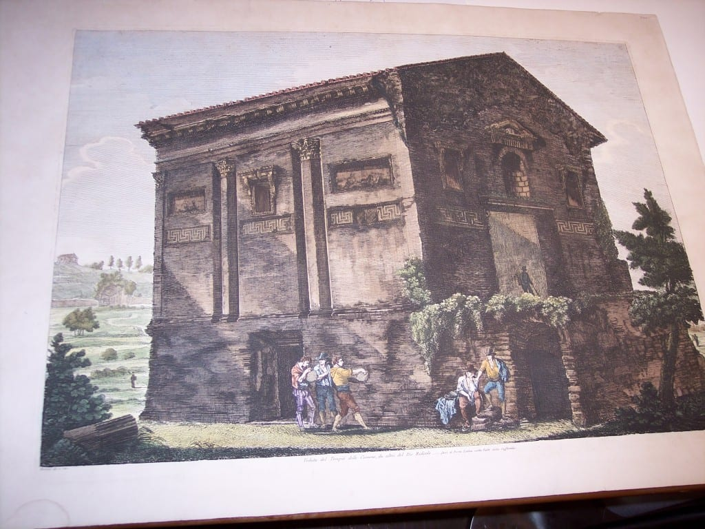Rossini Etching of Rome Hand Colored 8076