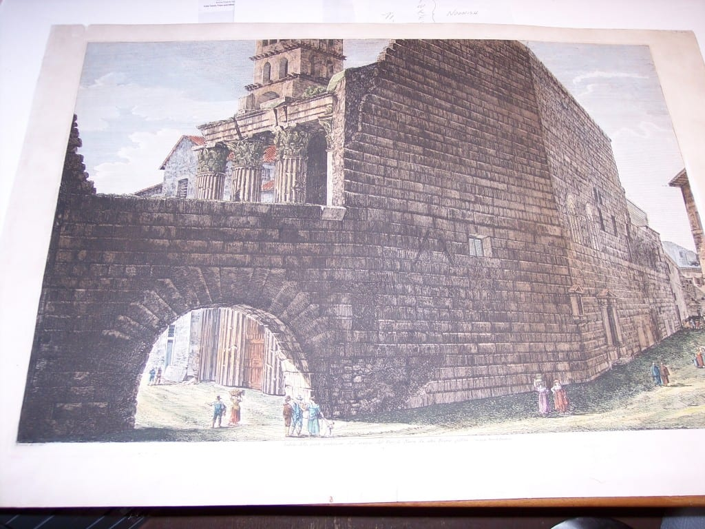 Rossini Etching of Rome Hand Colored 8077