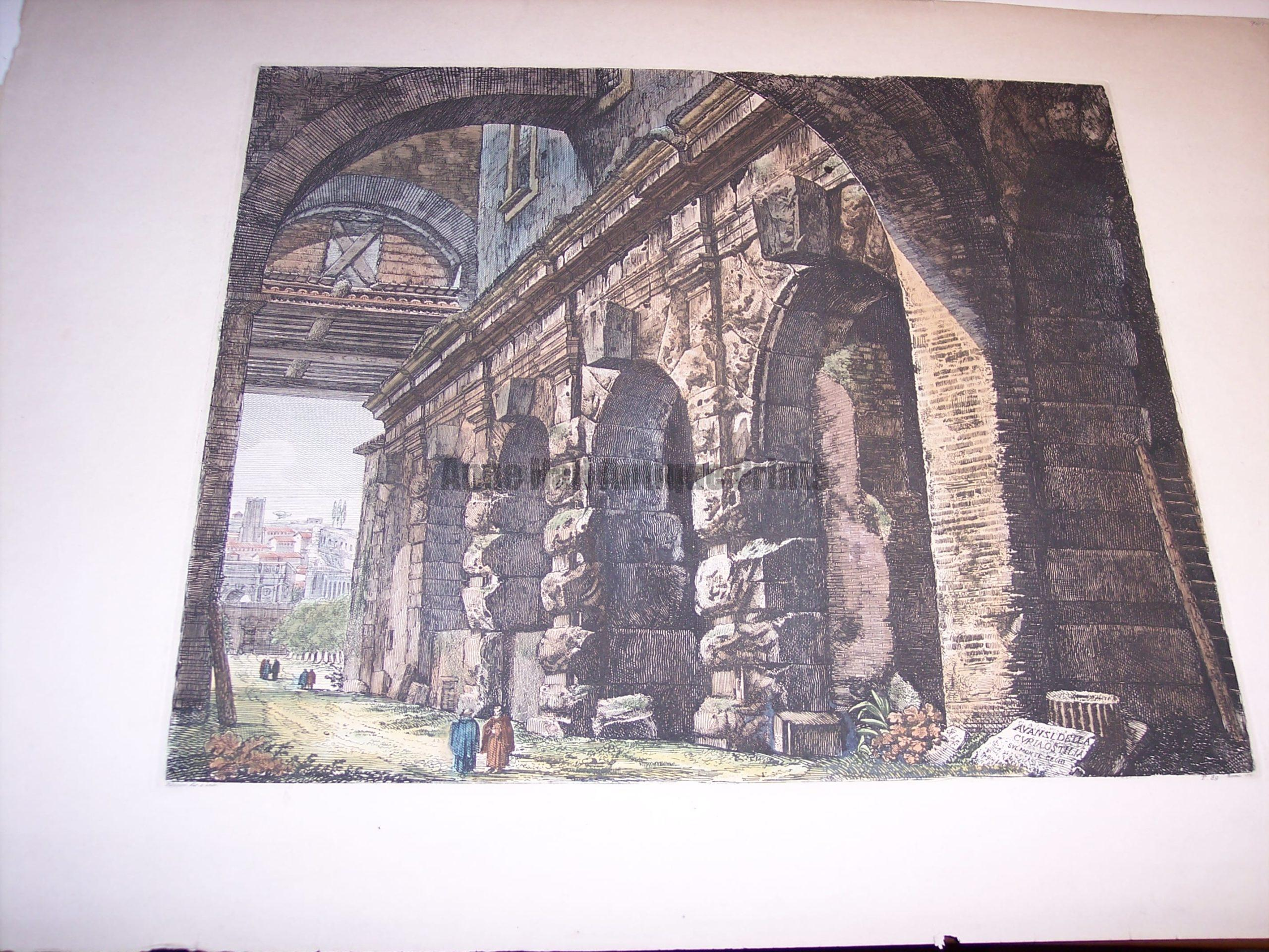 Rossini Etching of Rome Hand Colored 8078