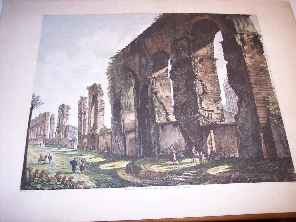 Rossini Etching of Rome Hand Colored 8079