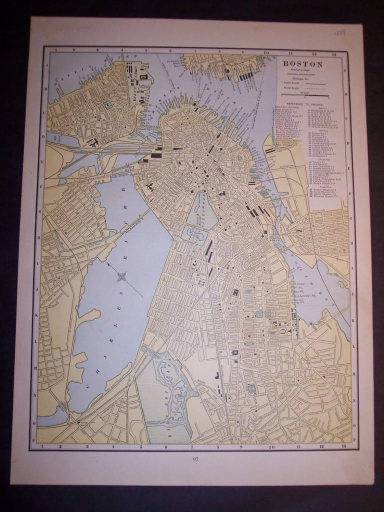 Map of Boston, 1889. $60.