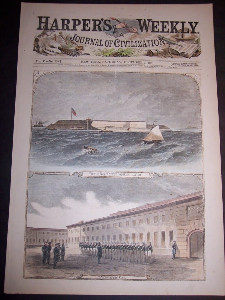 View from Boston Harbor and Interior of Fort Warren, December 7, 1861. $75.