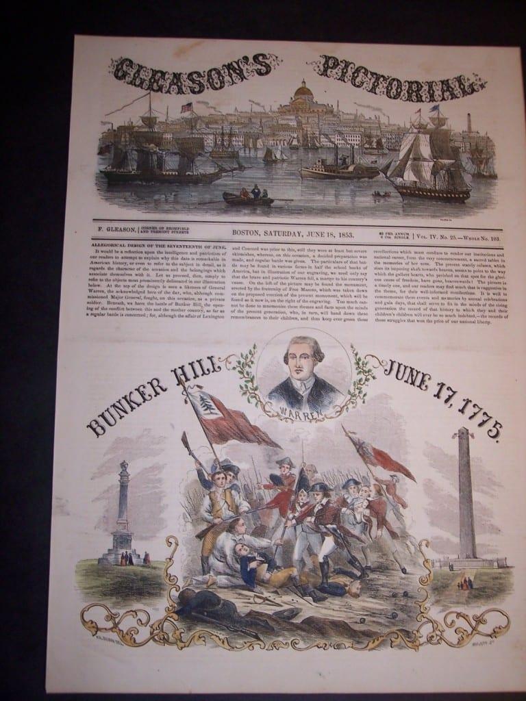 Bunker Hill, Cleason's Pictorial, June 18,1853. $70.