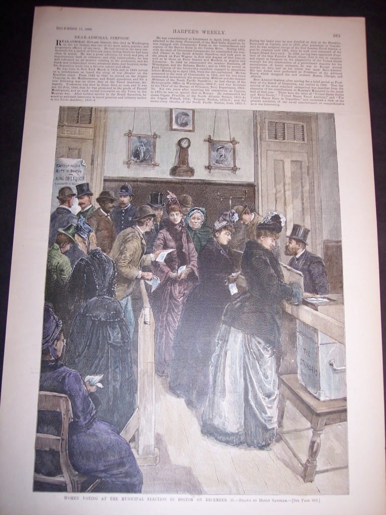 Women Voting at the Municipal Election in Boston on December 11, 1888. $50.