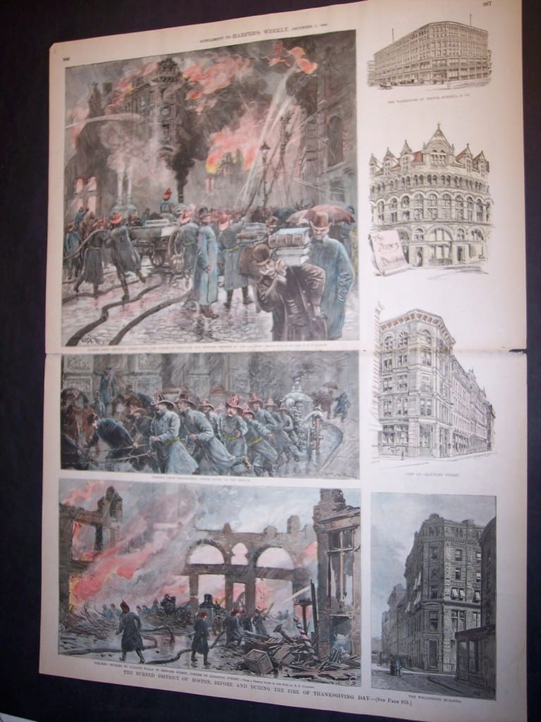The Burned District, Before and During the Fire of Thanksgiving Day. December, 7, 1889. $150.
