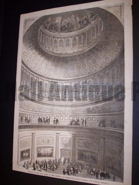 1861 Engraving of the Dome of the Capitol, Washington DC $250.