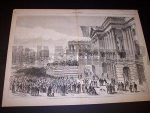 "1877 Old wood engraving measuring 16x22"" Entitled Our New President (Hayes)... $200."