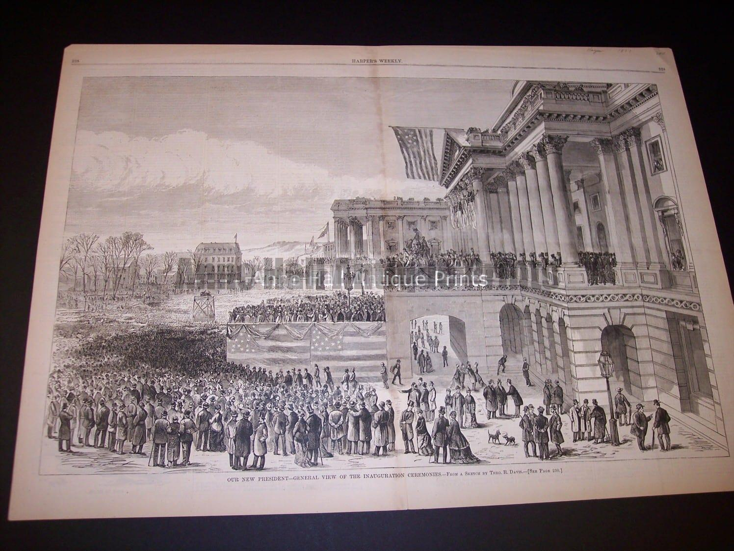 """1877 Old wood engraving measuring 16x22"""" Entitled Our New President (Hayes)... $200."""