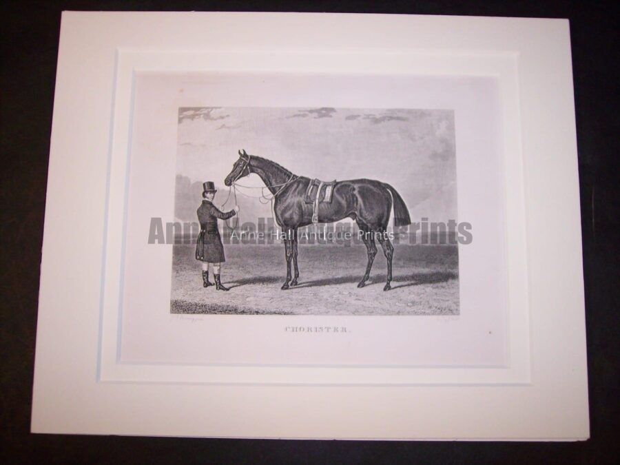 A race horse with owner depicted in history with this circa 1860 engraving.