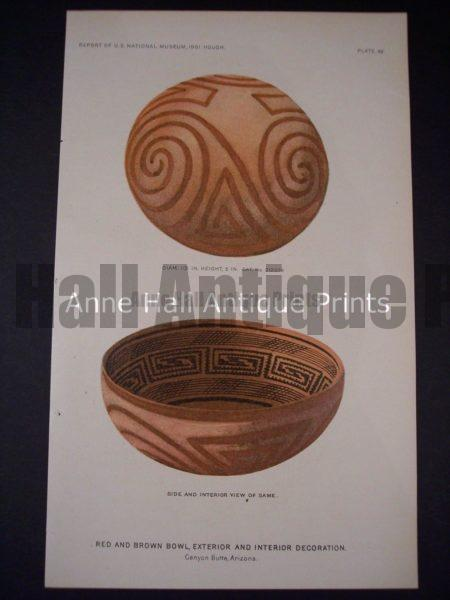 American Indian Pottery Chromolithograph from 1901. Arizona Indians