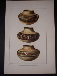 Old American Indian pottery chromolithograph by the Bureau of American Ethnology c.1900