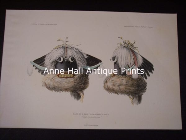 American Indian Head dresses and katchinas from the BAE. American chromolithographs produced for the US Bureau of American Ethnology.