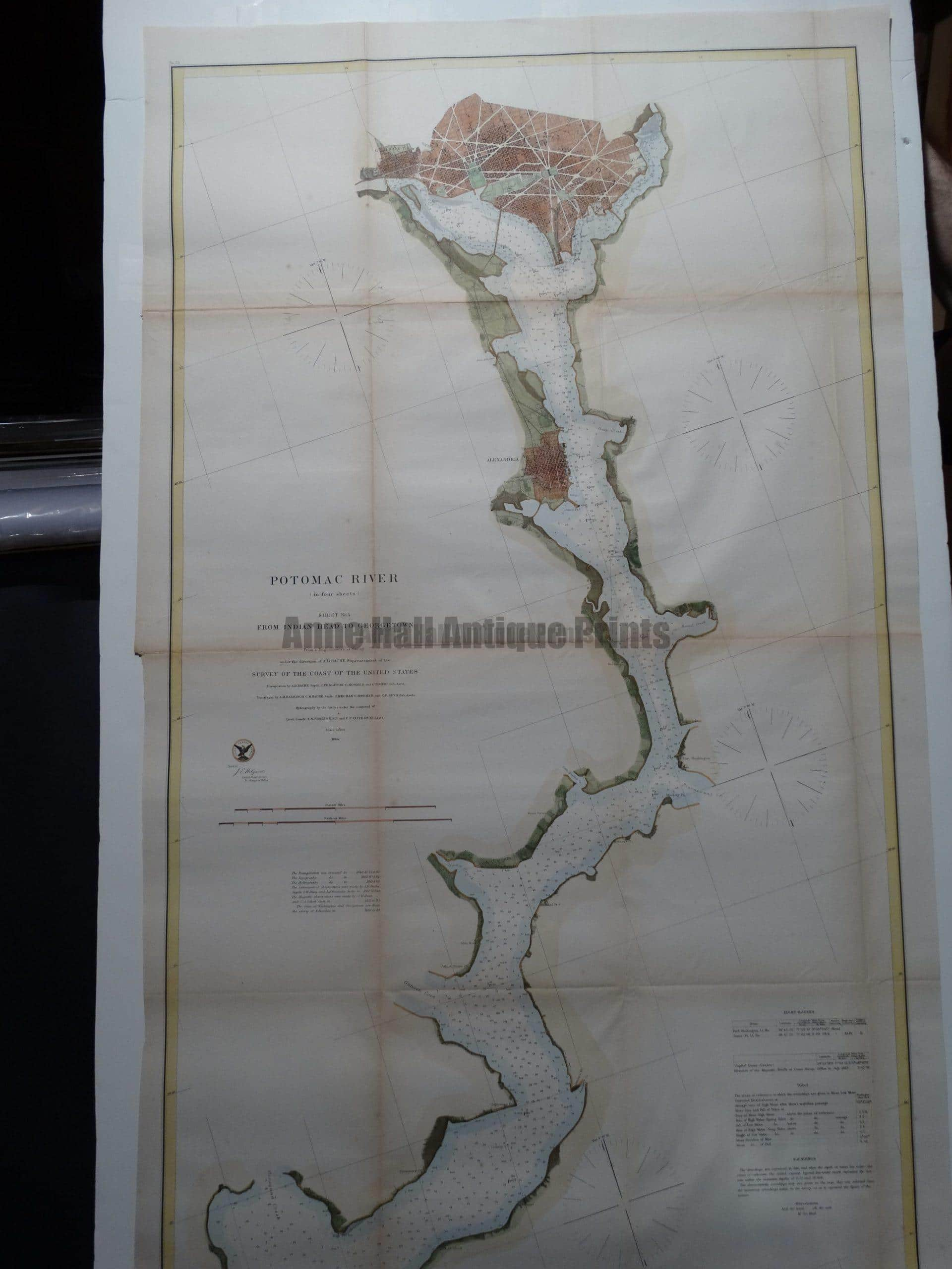 """1864 USCS Chart Potomac River.  A superbly hand colored steel plate engraving published by the Unites States Coastal Survey in 1864.  Superb condition and fabulous hand coloring.  25"""" x 41.5""""  $975."""