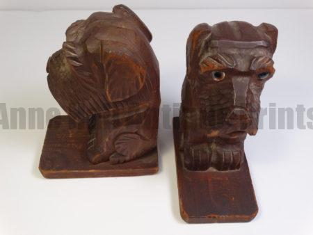 old hand carved dogs