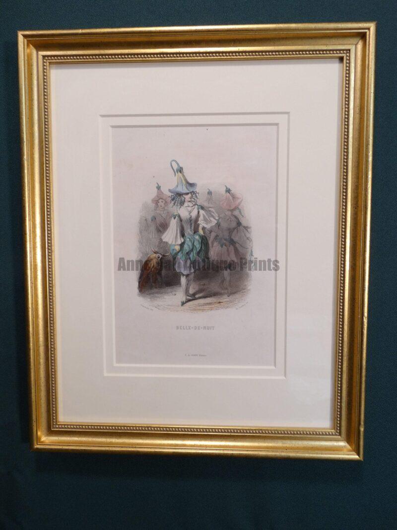 """JJ Grandville Fleur Animee original antique engravings of flowers depicted as people, """"personified"""""""