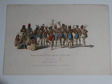 """War Dance of the Sauks and Foxes. 1838-1842 Philadelphia. Folio McKenney & Hall Tribes of North America hand colored lithograph 13 1/2 x 19 1/4"""""""