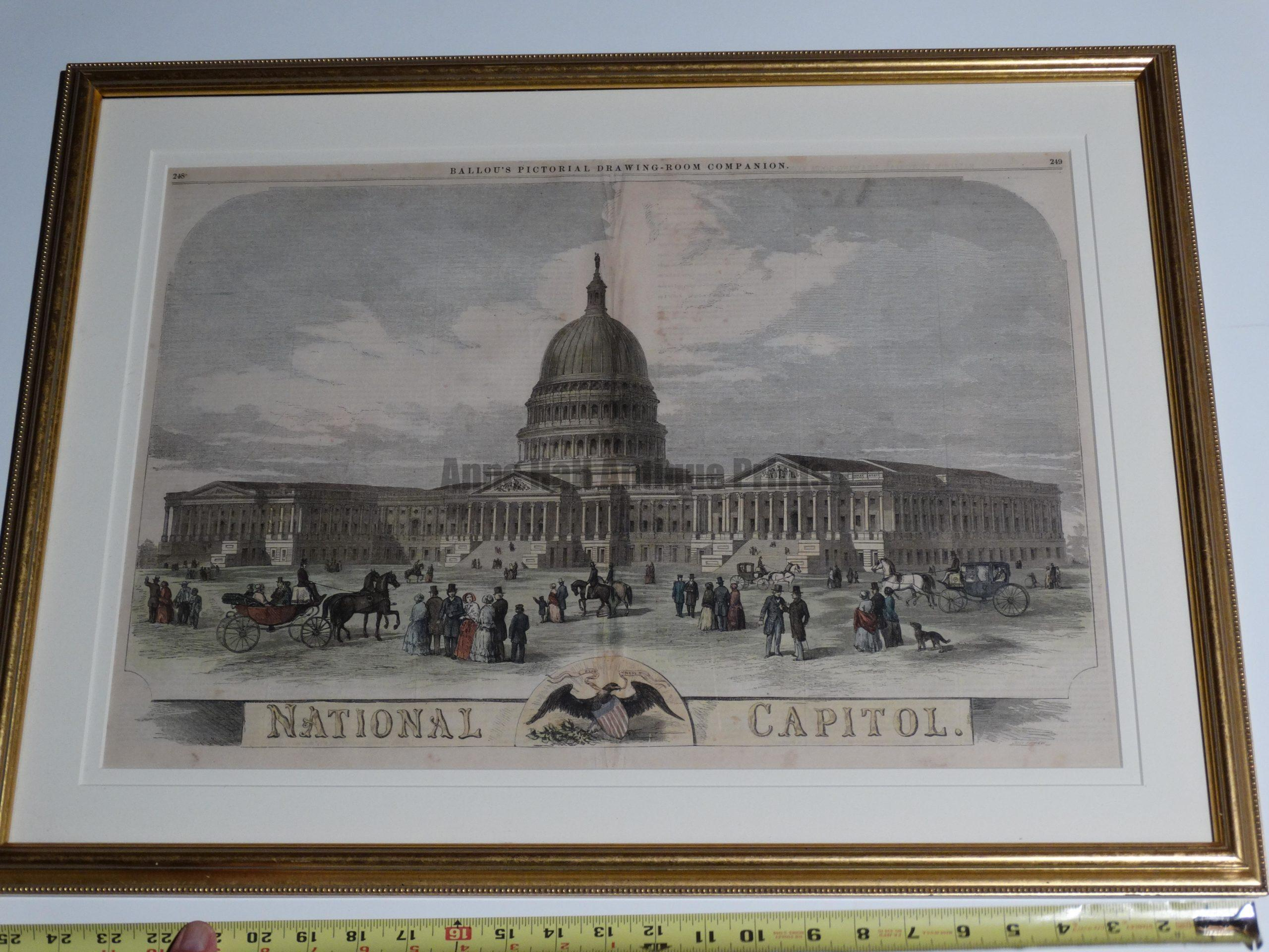 """Washington DC National Capitol. Archival framing, hand colored wood engraving. 20 x27"""" $450."""
