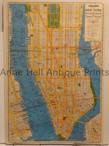 1930's lower Manhattan map in strong colors.