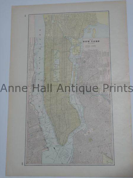 Large antique map of Manhattan from 1910. Muted pastel colors.