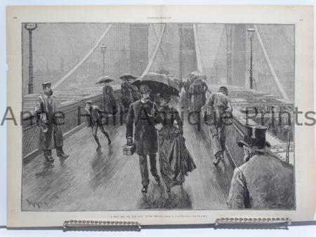 Harper's Weekly engraving from the 1880's. People are walking across the Brooklyn Bridge.
