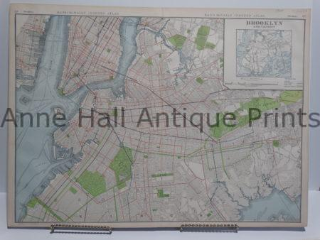 Antique map of Brooklyn in colors from 1909. Over 100 years old.