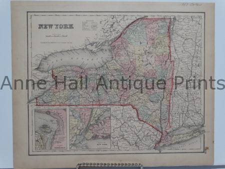 Beautiful watercolor map of New York state with city insets. Colton 1857.