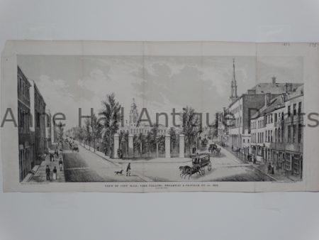 18th century lithograph of  NY City Hall.