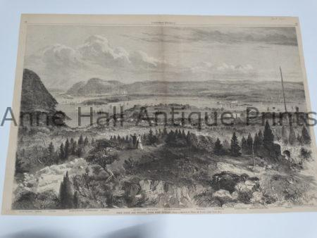 Beautiful 19th century woodcut engraving showing the area around West Point with panoramic perspective.