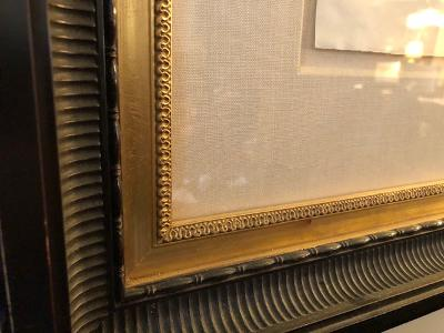 """""""Aerader Galleries"""" sticker certificate on reverse. Dark wood frame with deep curve with beaded gold inset liner."""