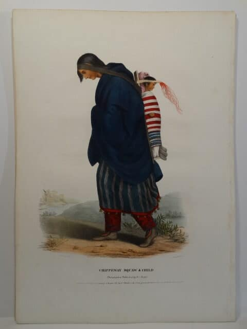 1837 folio American Indian lithograph of woman with child in papoose in striking watercolors.