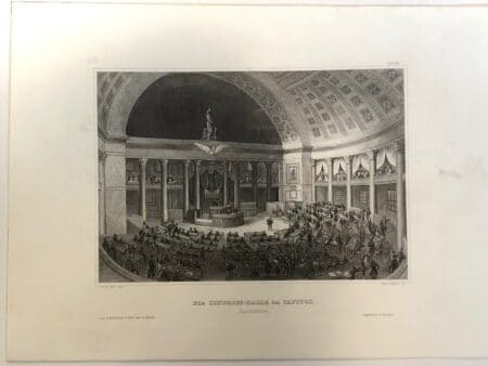Inside the United States House of Representatives Chambers at the Washington DC Capitol building. Rare engraving, c.1850.