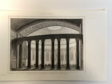 Rare antique engraving from the mid 19th century of the interior of America's Capitol, inside the dome in the hall.